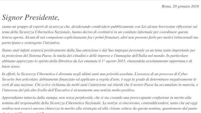 lettera_a_Renzi_cybersicurezza